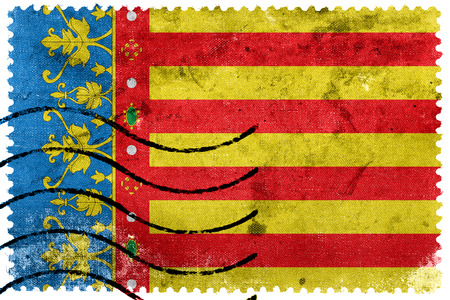 valencian: Flag of Valencian Community, Spain, old postage stamp