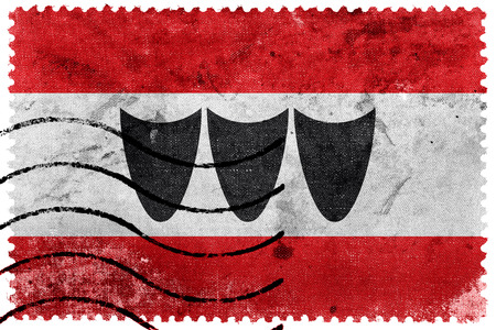 sello postal: Flag of Trebic, Czechia, old postage stamp