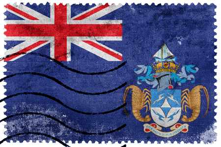 the ascension: Flag of Tristan da Cunha (part of Saint Helena, Ascension and Tristan da Cunha), old postage stamp