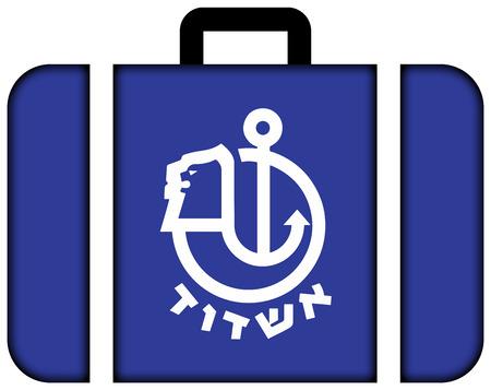 ashdod: Flag of Ashdod, Israel. Suitcase icon, travel and transportation concept