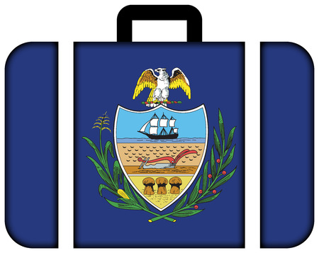 allegheny: Flag of Allegheny County, Pennsylvania, USA. Suitcase icon, travel and transportation concept
