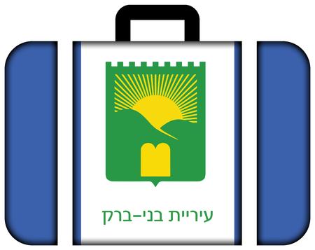 brak: Flag of Bnei Brak, Israel. Suitcase icon, travel and transportation concept Stock Photo