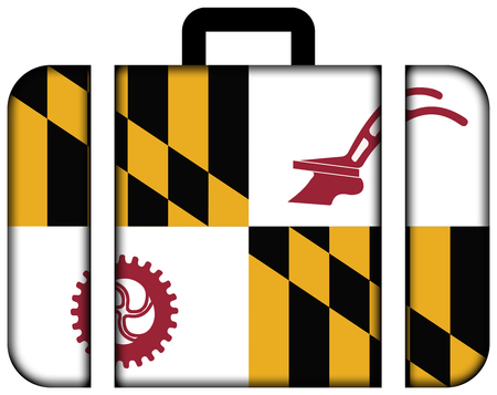 maryland flag: Flag of Baltimore County, Maryland, USA. Suitcase icon, travel and transportation concept