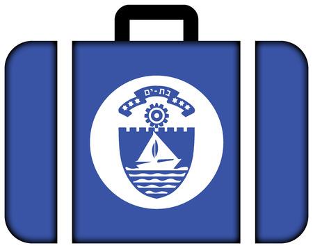 yam israel: Flag of Bat Yam, Israel. Suitcase icon, travel and transportation concept