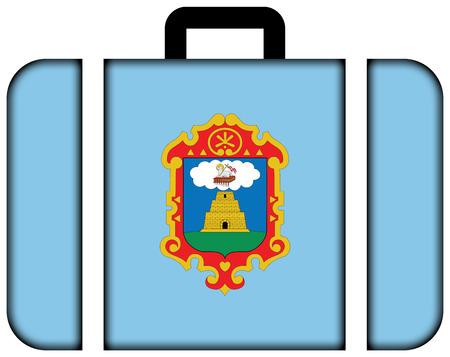 bandera de peru: Flag of Ayacucho, Peru. Suitcase icon, travel and transportation concept