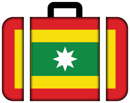 Flag of Barranquilla, Colombia. Suitcase icon, travel and transportation concept