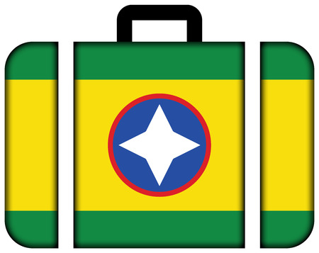 Flag of Bucaramanga, Colombia. Suitcase icon, travel and transportation concept