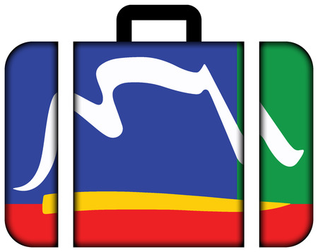 Flag of Cape Town, South Africa. Suitcase icon, travel and transportation concept