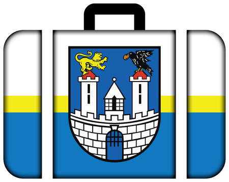czestochowa: Flag of Czestochowa with Coat of Arms, Poland. Suitcase icon, travel and transportation concept
