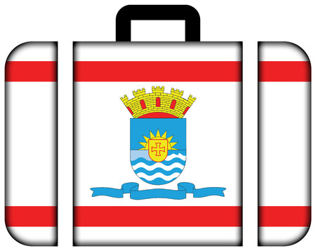 Flag of Florianopolis, Santa Catarina, Brazil. Suitcase icon, travel and transportation concept