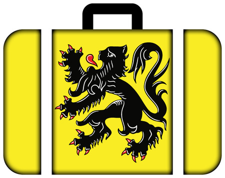 flanders: Flag of Flanders, Belgium. Suitcase icon, travel and transportation concept