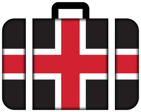 durham: Flag of Durham, England, UK. Suitcase icon, travel and transportation concept