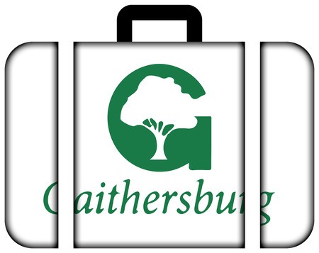Flag of Gaithersburg, Maryland, USA. Suitcase icon, travel and transportation concept Stock Photo