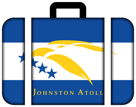 atoll: Flag of Johnston Atoll, USA. Suitcase icon, travel and transportation concept