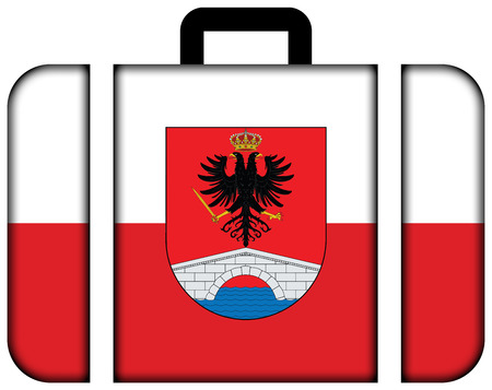 Flag of Honda, Tolima Department, Colombia. Suitcase icon, travel and transportation concept