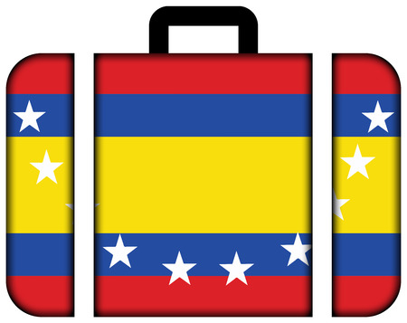 loja: Flag of Loja Province, Ecuador. Suitcase icon, travel and transportation concept