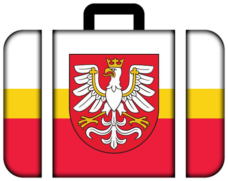 Flag of Lesser Poland Voivodeship with Coat of Arms, Poland. Suitcase icon, travel and transportation concept