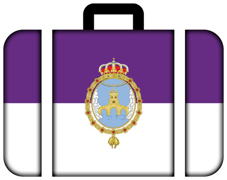 loja: Flag of Loja, Spain. Suitcase icon, travel and transportation concept