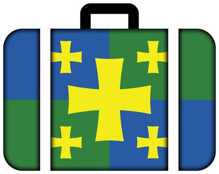 kutaisi: Flag of Kutaisi, Georgia. Suitcase icon, travel and transportation concept Stock Photo