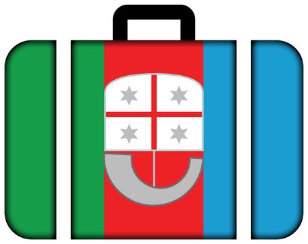 Flag of Liguria, Italy. Suitcase icon, travel and transportation concept