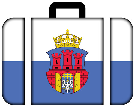 bandera de polonia: Flag of Krakow with Coat of Arms, Poland. Suitcase icon, travel and transportation concept