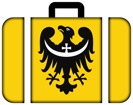 Flag of Lower Silesian Voivodeship, Poland. Suitcase icon, travel and transportation concept