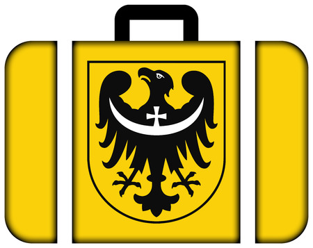 Flag of Lower Silesian Voivodeship with Coat of Arms, Poland. Suitcase icon, travel and transportation concept