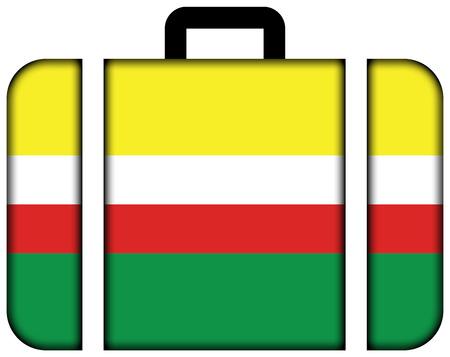 bandera de polonia: Flag of Lubusz Voivodeship, Poland. Suitcase icon, travel and transportation concept Foto de archivo