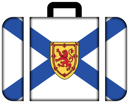 nova scotia: Flag of Nova Scotia Province, Canada. Suitcase icon, travel and transportation concept