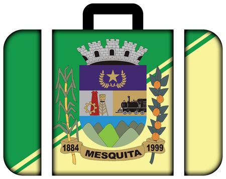 Flag of Mesquita, Rio de Janeiro, Brazil. Suitcase icon, travel and transportation concept Imagens