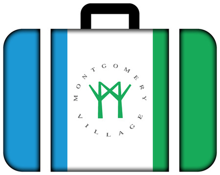 montgomery: Flag of Montgomery Village, Maryland, USA. Suitcase icon, travel and transportation concept