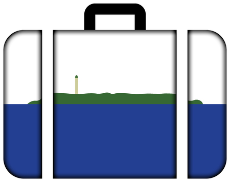 disputed: Flag of Navassa Island (unofficial, disputed). Suitcase icon, travel and transportation concept
