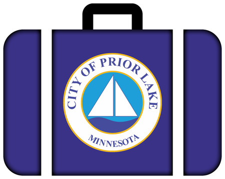 prior lake: Flag of Prior Lake, Minnesota, USA. Suitcase icon, travel and transportation concept Stock Photo