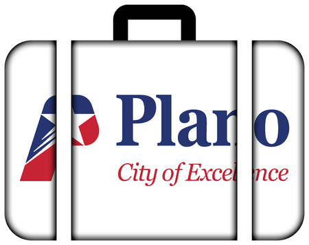plano: Flag of Plano, Texas, USA. Suitcase icon, travel and transportation concept