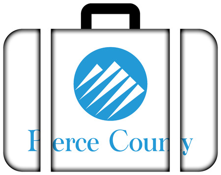 pierce: Flag of Pierce County, Washington, USA. Suitcase icon, travel and transportation concept Stock Photo
