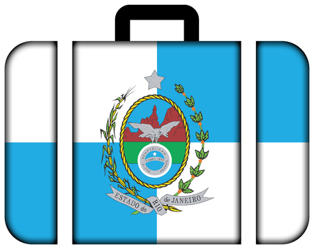 janeiro: Flag of Rio de Janeiro State, Brazil. Suitcase icon, travel and transportation concept Stock Photo
