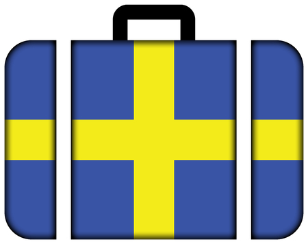 toulon: Flag of Toulon, France. Suitcase icon, travel and transportation concept