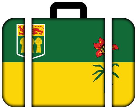 saskatchewan flag: Flag of Saskatchewan Province, Canada. Suitcase icon, travel and transportation concept