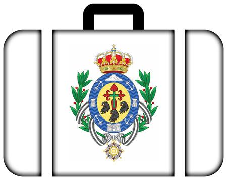 santa cruz de tenerife: Flag of Santa Cruz de Tenerife, Spain. Suitcase icon, travel and transportation concept