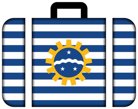 Flag of Sao Jose dos Campos, Sao Paulo, Brazil. Suitcase icon, travel and transportation concept Stock Photo