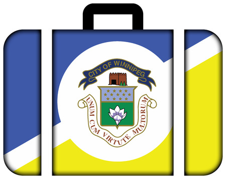 winnipeg: Flag of Winnipeg, Manitoba, Canada. Suitcase icon, travel and transportation concept Stock Photo