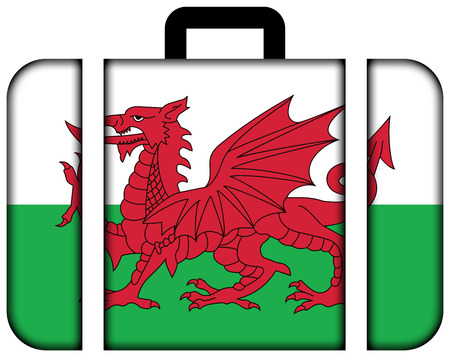 wales: Flag of Wales, UK. Suitcase icon, travel and transportation concept