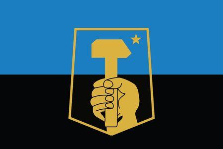 education policy: Flag of Donetsk, Ukraine. Vector Format