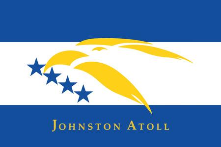 Flag of Johnston Atoll, USA. Vector Format Illustration