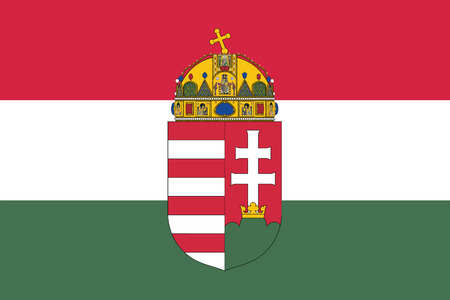 Flag of Hungary with Coat of Arms. Vector Format Imagens - 68946691