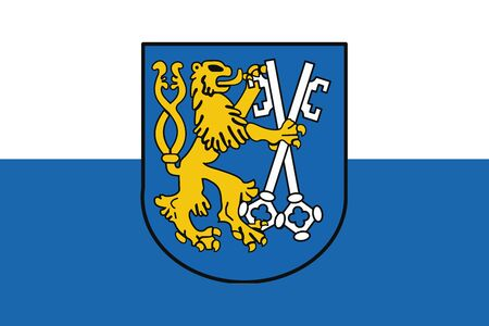 education policy: Flag of Legnica with Coat of Arms, Poland. Vector Format Illustration