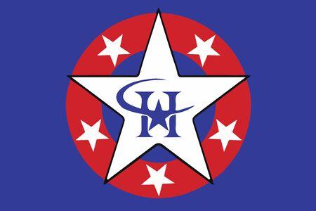 education policy: Flag of Harlingen, Texas, USA. Vector Format