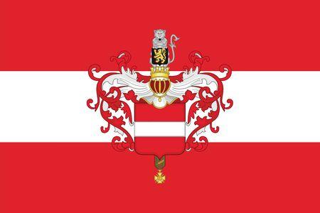 Vlag van Leuven met Wapenschild, België. Vectorformaat Vector Illustratie