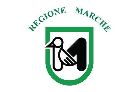 Flag of Marche Region, Italy. Vector Format