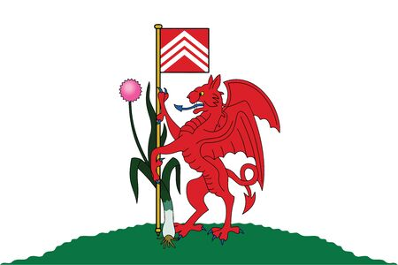 Flag of Cardiff, Wales, UK. Vector Format